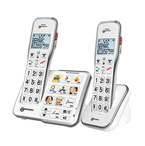 Geemarc Schnurloses teléfono para personas mayores AMPLIDECT 595-2 PHOTO contestador automático (voz/versión...
