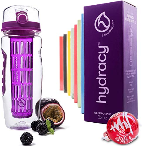 Hydracy Fruit Infuser Water Bottle - 32 Oz Sports Bottle with Full Length Infusion Rod, Time Marker + 27 Fruit Infused Water Recipes eBook Gift - Deep Purple
