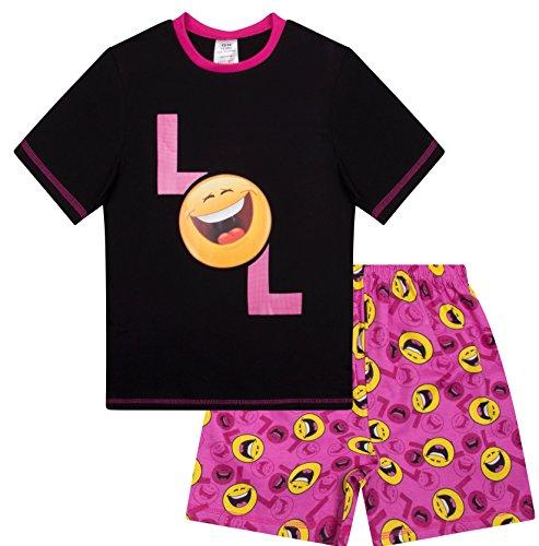 Mädchen Schlafanzug LOL Happy Face Laugh Out Loud Emoji-Stil, kurz, 9 bis 15 Jahre Gr. 13 Jahre, Schwarz
