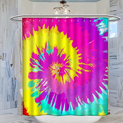Duschvorhang, Batik-Muster, Polyestergewebe, wasserdicht, Badezimmer-Gardinen, 12 Haken, 183 x 200 cm