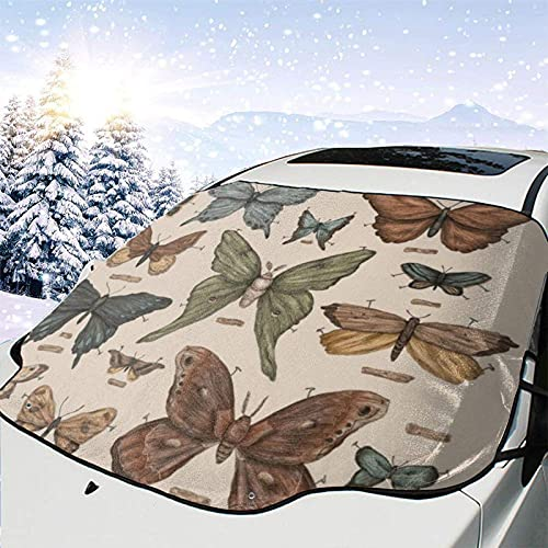 Tcerlcir Car Windshield Snow Cover Ice Removal Wiper Visor Protector,Butterflies and Moth Specimens All Weather Winter Summer Auto Sun Shade for Cars Trucks and SUVs,147x118cm