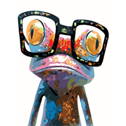 Zdmathe 16x20 Zoll DIY Digital Malen nach Zahlen Kits für Kinder Erwachsene Magisch Tier Zeichnung Kits Wandgemälde Leinwand Ölgemälde Home Mauer Dekor-Frosch mit Brille