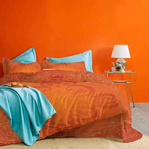 Orange Bed Set Royal Antique Motifs with Victorian Swirls Vintage Traditional Revival Framework Best Hotel Luxury Bedding Orange Gold 3 Pieces (1 Duvet Cover and 2 Pillow Shams) Queen Size