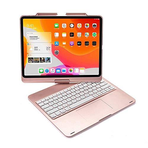 Funda con Teclado para iPad Pro 12,9 2018 2020 360 Grados Giratorio LED RGB retroiluminación inalámbrica Bluetooth Trackpad Cubierta-Oro Rosa_Conjunto