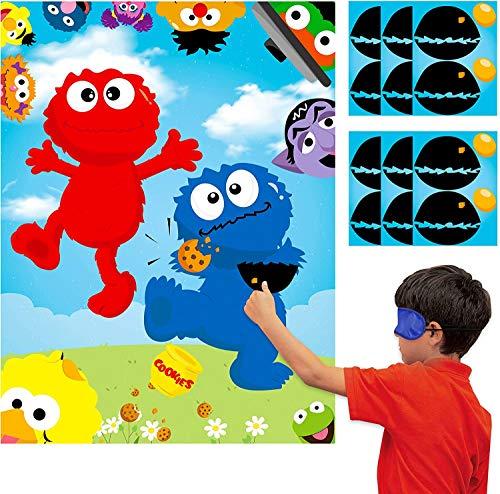 BeYumi 36Pcs Elmo Party Sticker Spiel, Pin die Nase und Mund auf der großen Elmo Cookie Monster Poster, Sesam Thema Make-a-Face Aufkleber Spiel Party begünstigt Party liefert Dekoration