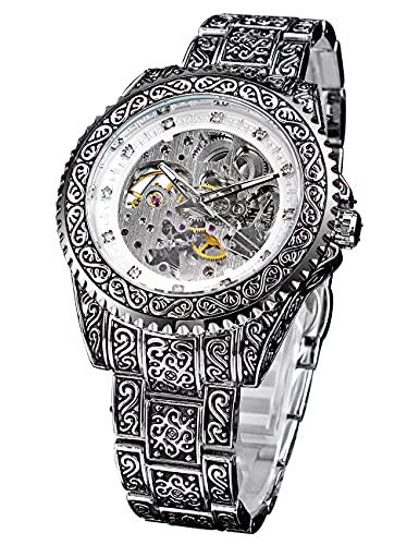 Forsining Reloj mecánico impermeable transparente para hombres talla de lujo relojes automáticos de los hombres de diamantes esqueleto de acero inoxidable reloj de pulsera Montre Homme