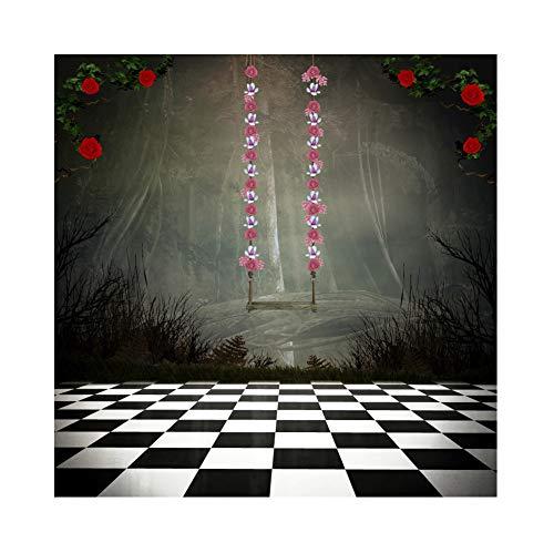 YongFoto 1,5 x 1,5 m vinyl foto achtergrond droomwereld bloemen versierd schommel donkere bomen schaakplank fotografie canvas achtergrond partydecoratie fotostudio achtergronden fotoshooting