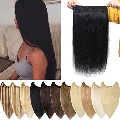 S-noilite Extensions Echthaar Haarverlängerung 1 Tresse Haarteil mit Draht Glatt Haarverdichtung Dick 40cm(16