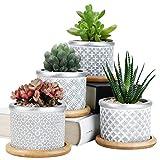 SE SUN-E Vasi per fioriera succulenta in Cemento da 7,5 cm, Contenitore per Erbe in Vaso per Piante di Cactus all'aperto per Interni, casa, Ufficio, Idea Regalo di Nozze con Vassoio di bambù Set di 4