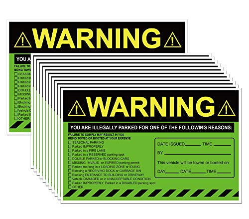 Green You are Illegally Parked Parking Violation Stickers Hard to Remove 5 x 8 Inch 50 Pack Private Parking Violation Stickers Tow Warning Notice for Car Vehicle