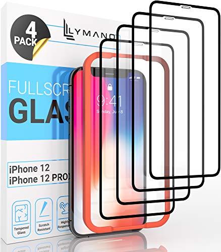 [4 Stück] LYMANO Panzer-Folie Glas Full Screen für iPhone 12 / iPhone 12 Pro Display-Schutzfolie Schutzglas Glass Protector [Anti Kratzer] [Blasenfrei] [Komplett Abdeckung] (6,1 Zoll) - Jetzt Ansehen