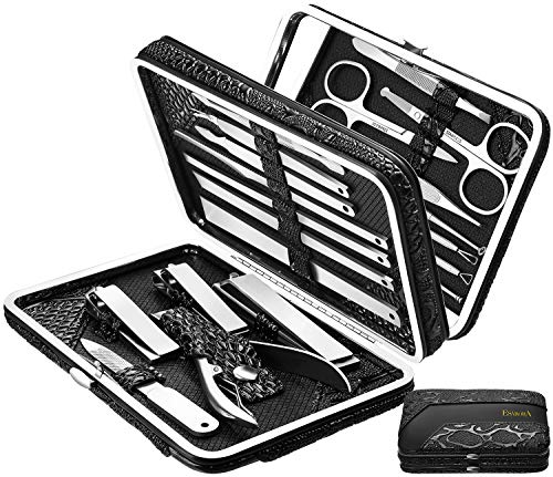ESARORA Manicure Set 20 in 1 Stainless Steel Professional Pedicure Kit Nail Scissors Grooming Kit with Mirror and Black Leather Travel Case Double Layer