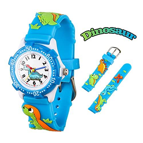 El Reloj de Niños de Vinmori, Reloj de Cuarzo con Dibujos Animados Bonitos de 3D a Prueba de Agua Regalo para Chicos Niños y Niñas Dinosaurio-Azul y Blanco