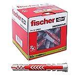 Fischer 538241 taco de nylon, Gris y Rojo, 8x65 (Caja 50 tacos)...