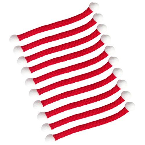 VALICLUD 10Pcs Weihnachten Mini Schal Gestrickt Schals DIY Haarball Puppe Kleidung Zubehör Kleine Schneemann Pflanzen Dekor Weihnachten Ferienhaus Dekoration Rot 15Cm