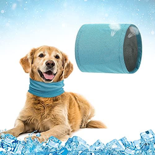 Collare di Raffreddamento per Cani,Bandana di Raffreddamento per Cani,Bandana Rinfrescante per Animali Domestici,Raffreddamento bandana cane,Sciarpa di raffreddamento cane,Pet Cooling Collar (Blu) (L)
