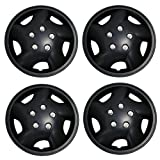 TuningPros WSC3-852B14 4pcs Set Snap-On Type (Pop-On) 14-Inches Matte Black Hubcaps Wheel Cover