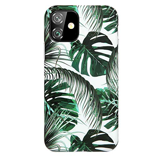 Reejax iPhone 11 Case 6.1 inch Case with Glass Screen Protector, Green Leaf for Girls Women Best Protective Slim Fit Clear Bumper Glossy TPU Soft Silicon Cover Phone Case for iPhone 11 Case 6.1'