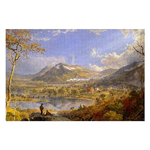 BLESFEST Jasper Francis Cropsey Starrucca Viaduct 500 Piece Jigsaw Puzzle for Kids Adults, Jigsaw Puzzles Game Gift for Boys Girls Children Learning Educational Puzzles Toys 15 x 20 inches