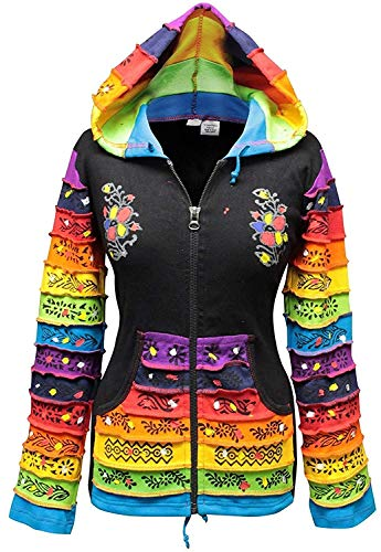Shopoholic Mode Damen Patchwork Pixie Kapuze Rainbow Muster Jacke,Hippy - MIX SCHWARZ, S