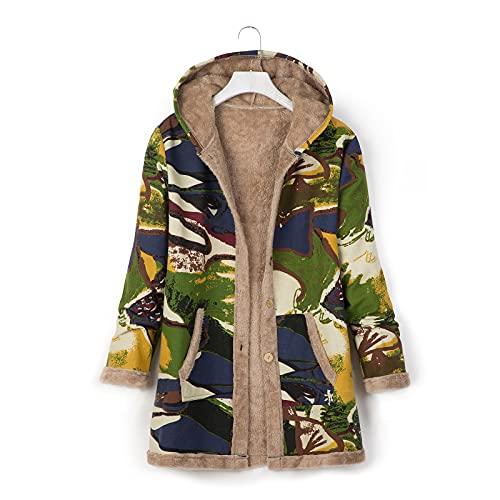 Pianshanzi Chaqueta de forro polar para mujer, chaqueta de invierno, chaqueta de peluche, sudadera con capucha, cremallera de invierno, con bolsillos, monocolor, verde, S