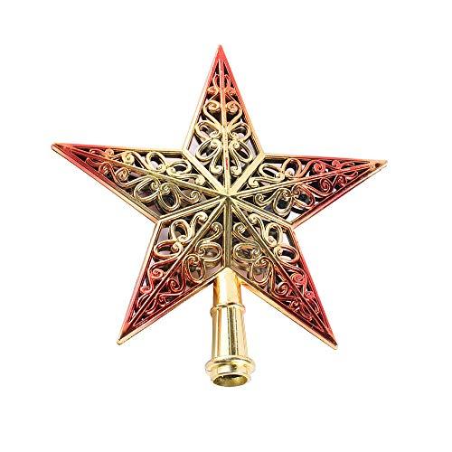 Cavità Stella Puntale Albero Di Natale, Decorazioni Natalizie, Brillante, Rosso E Oro, 20Cm(7.9')