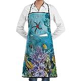 fishappleeatall Delantal de la Escuela de Peces de arrecifes de Coral Tropicales y exóticos para el jardín de la Cocina Cocina Asar a la Parrilla Gran Regalo de los Hombres de Las Mujeres