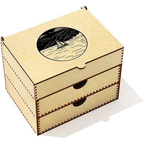 Azeeda 'Motif de Bateau Circulaire' Boîte de Maquillage (VC00008316)