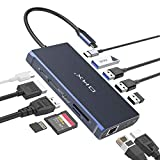 Docking Station, USB C Docking Station, OKX USB C Laptop Hub Adapter 12-in-1 with Dual 4K HDMI, DP, Ethernet, PD 3.0, USB-C, 4 USB-A, SD/TF Card Reader, Compatible for Thunderbolt3 MacBook &Windows