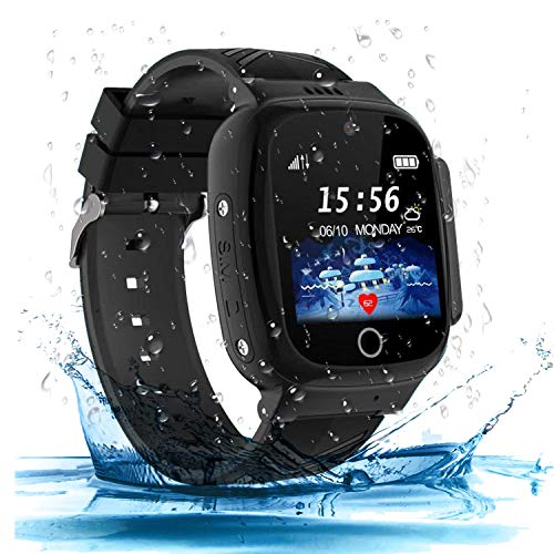 Kinder SmartWatch Phone Digital Camera Watch with Games Music Player Alarm Clock and 1.44 inch Touch LCD for Jungen und Mädchen Birthday (Black)