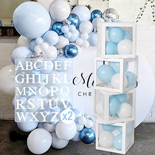 Caja de decoración para fiesta de cumpleaños con 52 letras, caja de decoración para baby shower para niñas y niños, caja de 4 globos transparente que incluye la letra A-Z para cumpleaños, baby shower