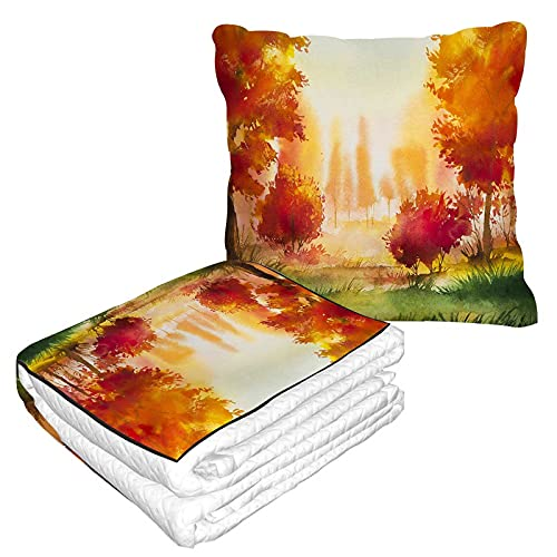Manta de viaje con paisaje otoñal, almohada 2 en 1, acuarela amarillo árbol y verde hierba avión manta hogar sofá mullido franela oficina manta