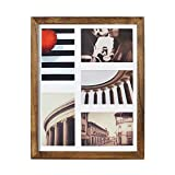 Emfogo 11x14 Picture Frame - Rustic Solid Wood and High Definition Glass Collage Picture Frame Display Five 4 x 6 Photo or 11x14 Photo Without Mat for Wall Carbonized Black