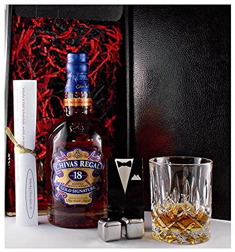 Geschenk Chivas Regal 18 Jahre scotch Whisky + Glas + 2 Whiskey Kühlsteine