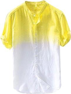 OULSEN Shirt for Men Fashion Crew Neck Short Sleeve Gradient Button Down Casual Shirt Loose Blouse Top Shirt Summer