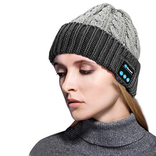 Zwini Bluetooth Beanie Hat V5.0 Auriculares inalámbricos Bluetooth Altavoz de música estéreo Auriculares Manos Libres Sombrero de Invierno para Correr, Esquiar, Patinar, Hombres Mujeres