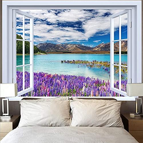Tapiz de montaña tapiz paisaje lago puesta de sol gran ola tapiz paño de pared decoración del hogar fondo tapiz de tela A13 180x200cm