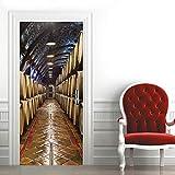 3D Mural Puerta Fondo Pantalla Cristal Poster Armario Extraíble Etiqueta De La Puerta Decoración Diy Para Puerta Sala De Baño Estar Dormitorio Bodega Subterránea 77X200Cm