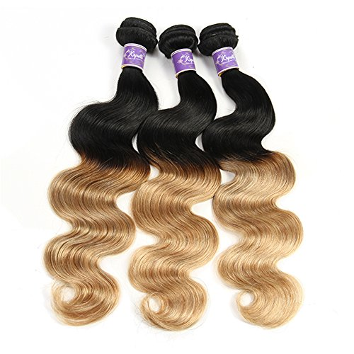 "Ombre Brazilian Hair Body Wave Bundles 3pcs, Ombre Brazilian Virgin Hair Human Hair Weave Two Tone Black to Blonde (T1B/27,14"" 16"" 18"")"