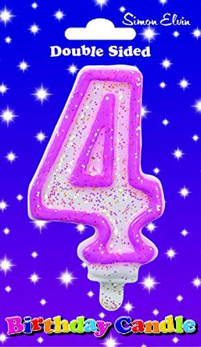 Geburtstagskerze Nummer 4 rosa weiß Zahl Glitzer Kerze mit rosa Umriss