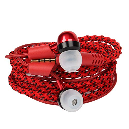 in-Ear Earbuds with Microphone, FunDiscount Creative Braided Wristband Wrap Headphones Hand Rope Bracelet Wired Earphones Lanyard Nylon Cord Stereo Sound Noise Isolating Tangle Free (Red)