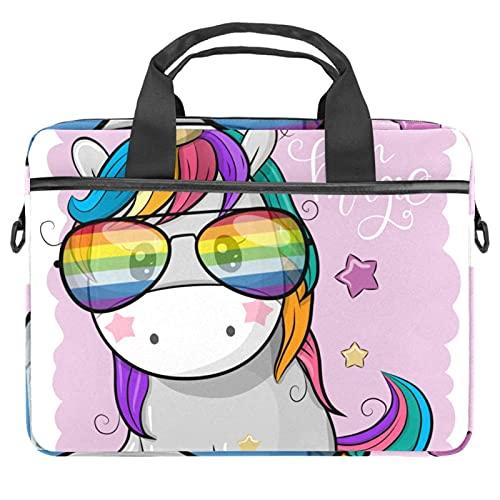 Lindo unicornio fresco con gafas de sol bolsas para ordenador portátil de 13.4 a 14.5 pulgadas de negocios hombro correa extraíble Satchel caso portátil maletín
