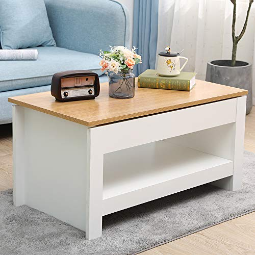 DONEWELL Living Room Furniture 2/3/4 Piece Set Lamp Table Sliding Top Coffee Table TV Stand Modern Simple Practical White+Oak/Grey+Oak (Sliding Top Coffee Table-White)