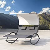 Crestlive Products Outdoor Double Chaise Lounge Chair Swing Rocking Portable Hammock Bed Loveseat with Sun Shade & Wheels for Patio, Yard, Pool (Black)