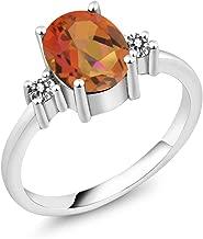 Gem Stone King 2.43 Ct Oval Twilight Orange Mystic Quartz White Diamond 925 Sterling Silver Ring