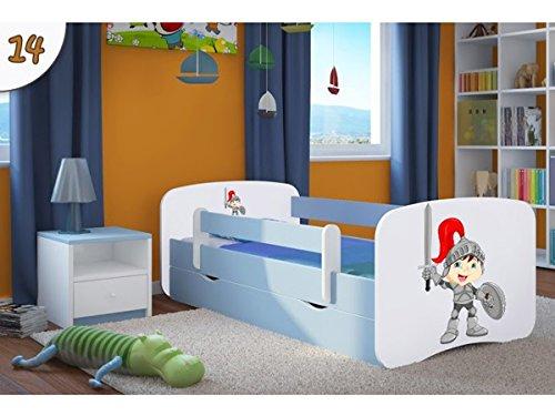 Kocot Kids Kinderbett Jugendbett 70x140 80x160 80x180 Blau mit Rausfallschutz Matratze Schublade und Lattenrost Kinderbetten für Junge - Ritter 160 cm