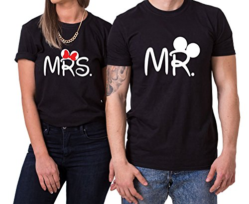 Mister Misses Partnerlook Camiseta de los Pares Dulce para Parejas como Regalos, Größe2:XL;Partner Shirts:Damen T-Shirt Schwarz