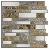 MTO0241 Peel and Stick Linear Beige Gold White Grey Glossy Vinyl Mosaic Tile