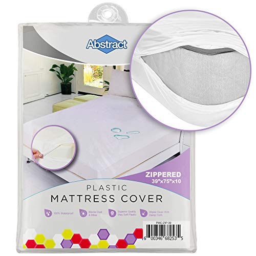 Abstract Vinyl Full Mattress Protector Zipper Closure Style - Best to Protect Your Bed from Spills, Accidents and Damage - 100% Waterproof Plastic - in Twin and Cot Size White (39' X 75')