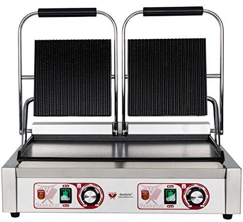 Beeketal 'BKG8' Gastro Doppelt Kontaktgrill mit Gusseisen Grillpatten (oben gerillt unten glatt) mit Fettauffangschale, Profi Edelstahl Elektrogrill ideal als Panini Grill Maker oder Sandwich Toaster